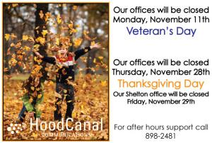 November office closures