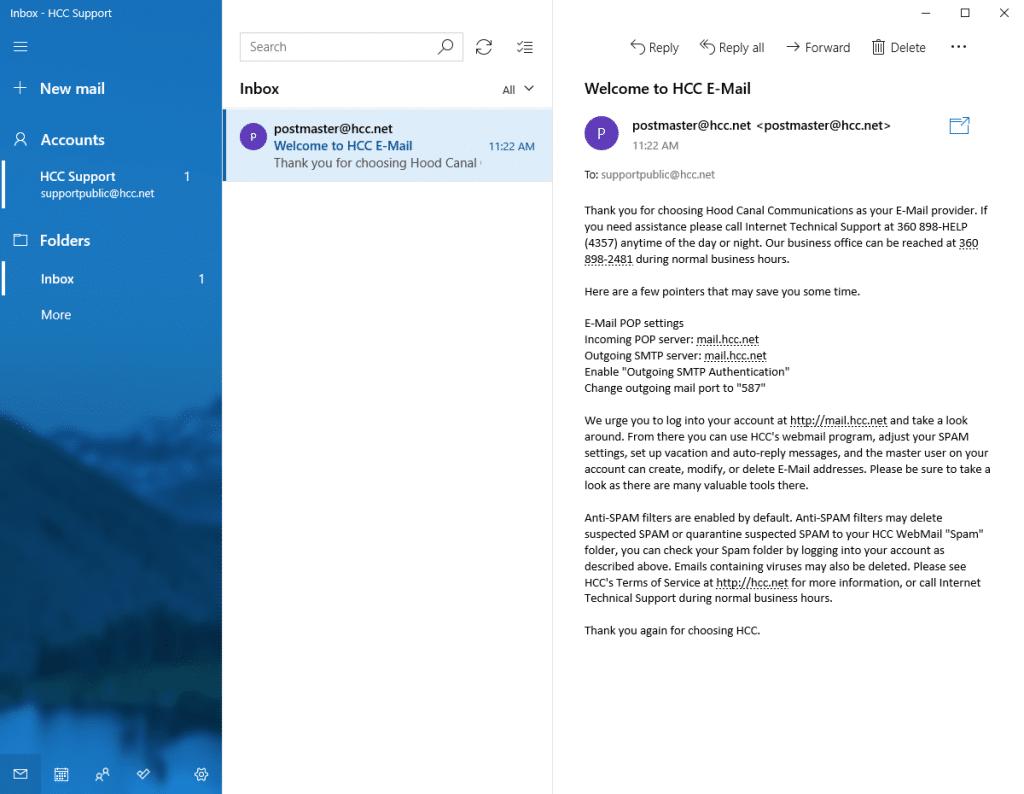 Windows 10 & Windows 8 Email Setup - Hood Canal Communications