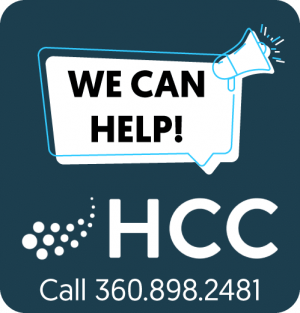 Image of Hood Canal Communications logo and We Can Help